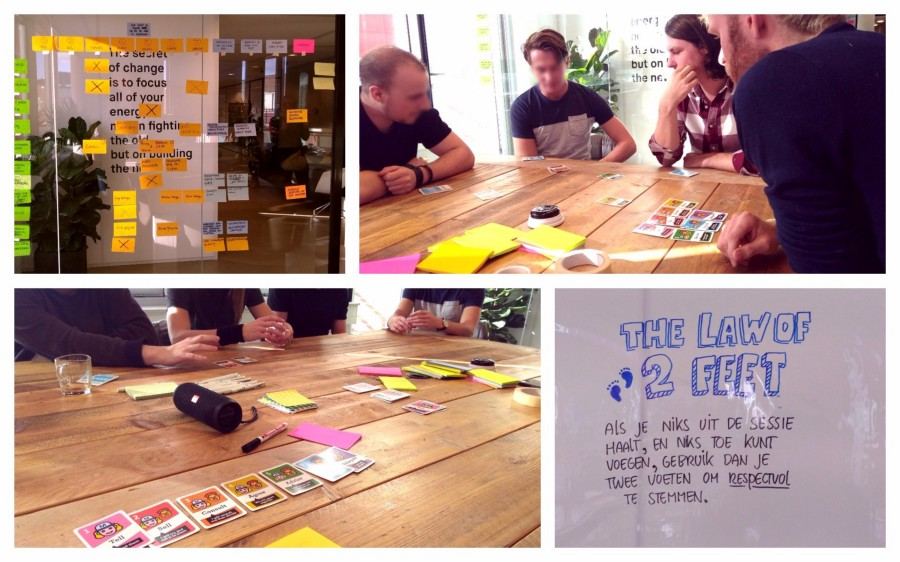 Pictures of a session where we created a skill matrix with a team. The cards on the table are Moving Motivators, from Management 3.0.