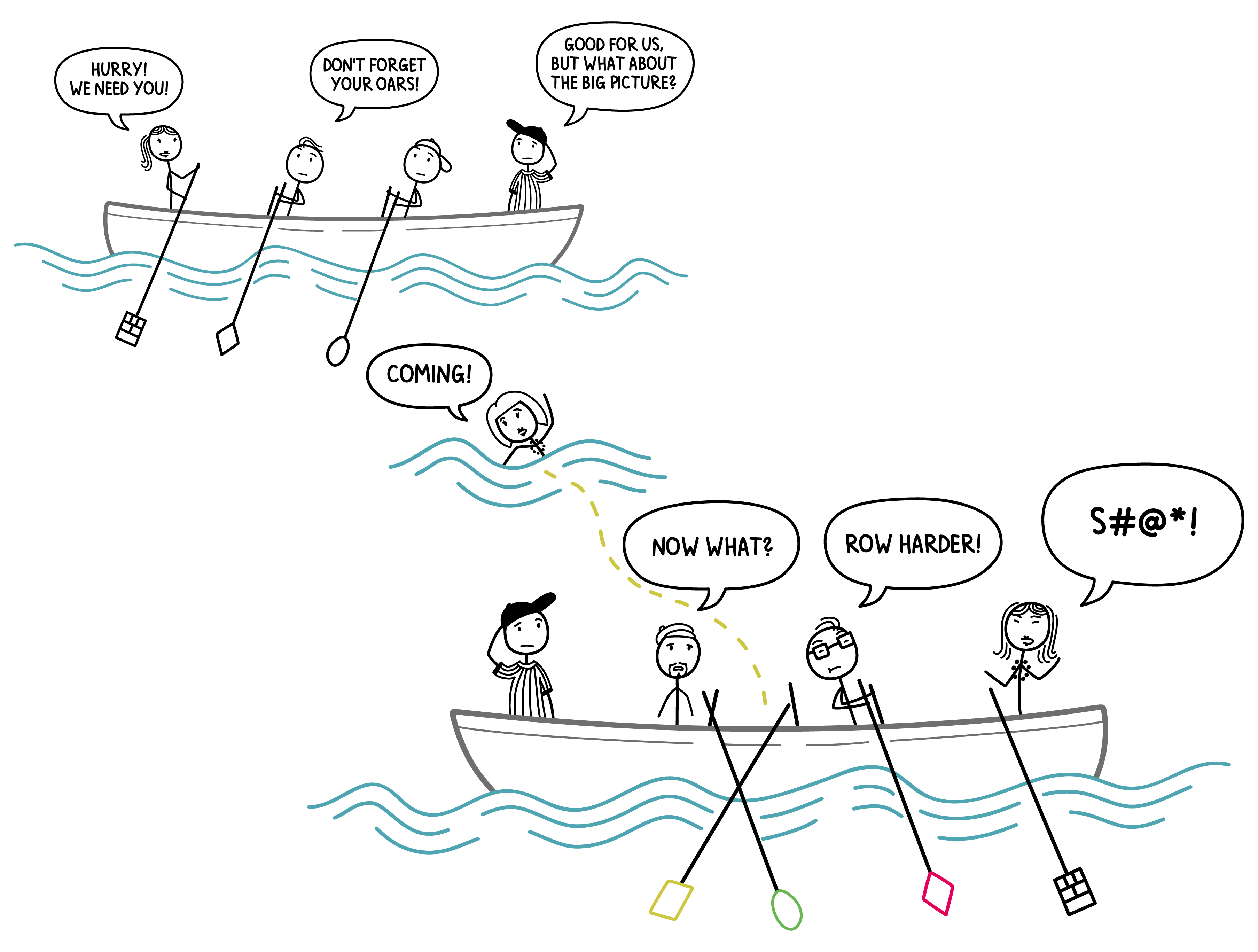 What might happen if a member of a crew needs to change boats during the journey.