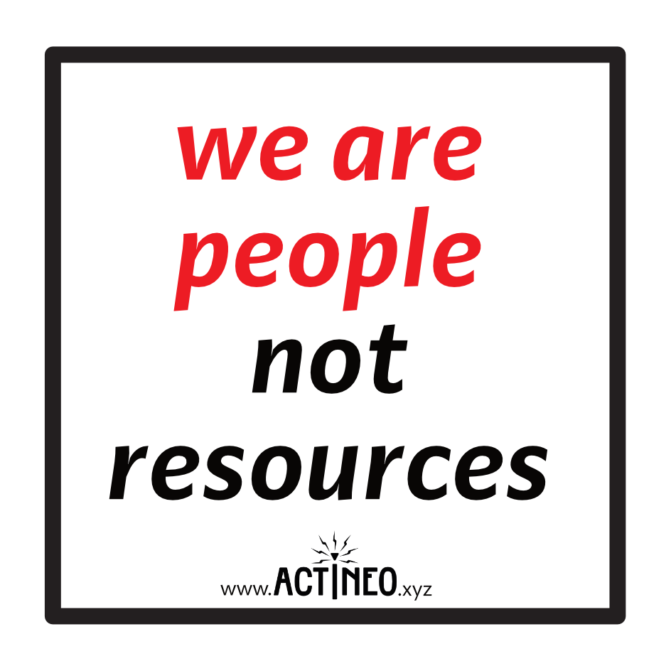 "Sticker: ""we are people. not resources"""
