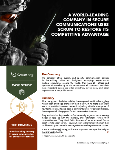 A world-leading company in secure communications uses Scrum to restore its competitive advantage