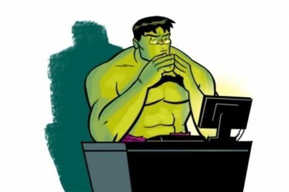 Hulk sat behind a computer screen.