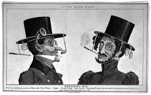 Revolving hat with eyeglass, etc.
