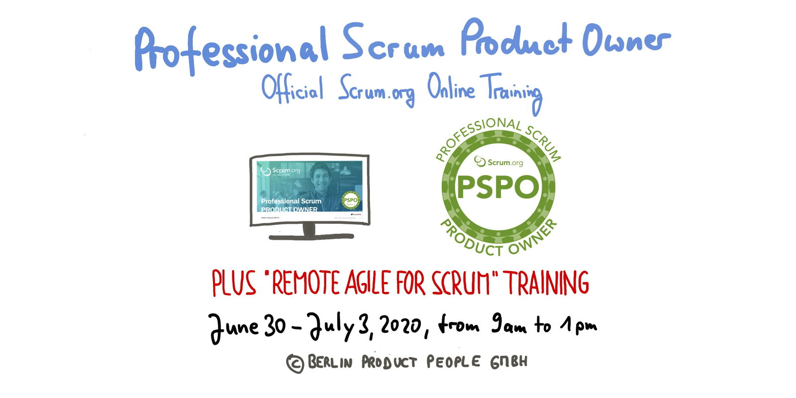 📅 🖥 Professional Scrum Product Owner Training — Online: June 30 to July 3, 2020