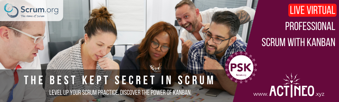 Live Virtual Professional Scrum with Kanban course. The best kept secret in Scrum.