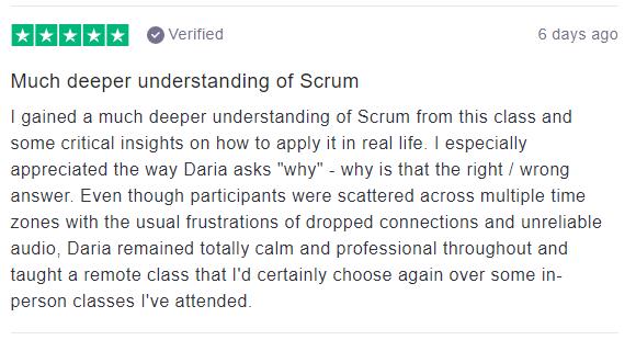5-star review Virtual PSM II Class for Daria Bagina