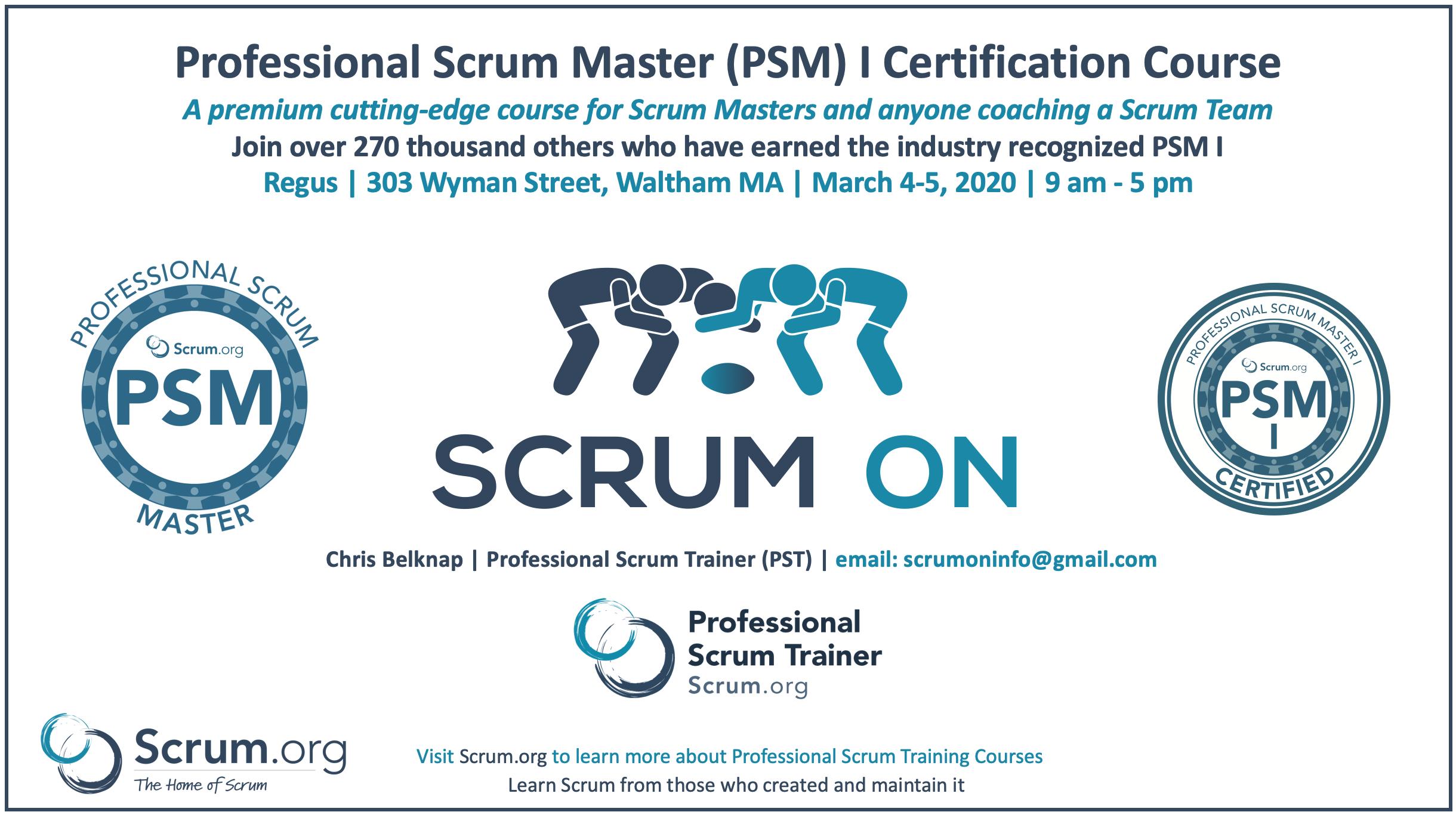 Professional Scrum Master PSM Waltham MA