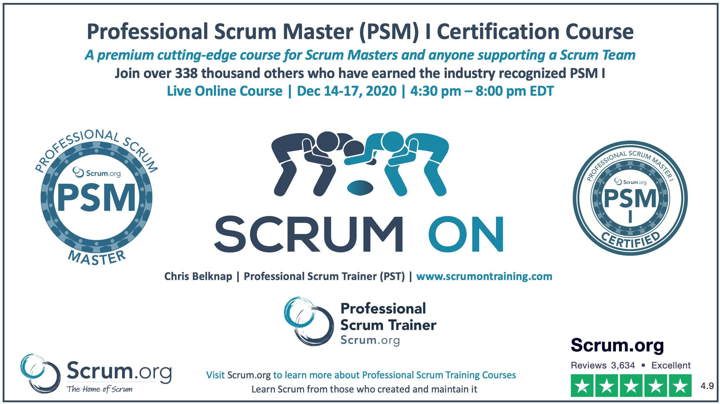 Professional Scrum Master PSM I Course Live Online
