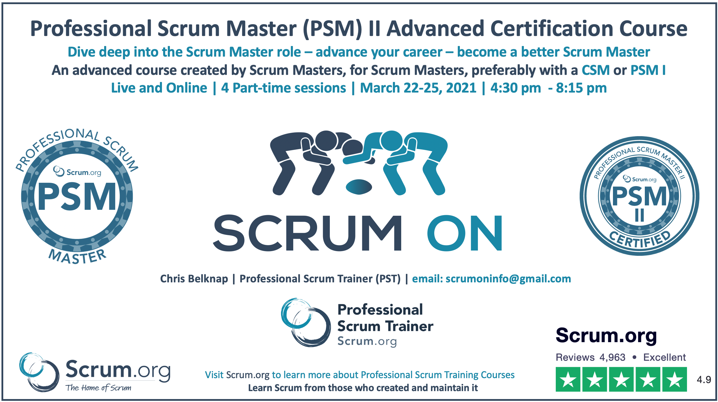 Professional Scrum Master PSM II Course with Certification