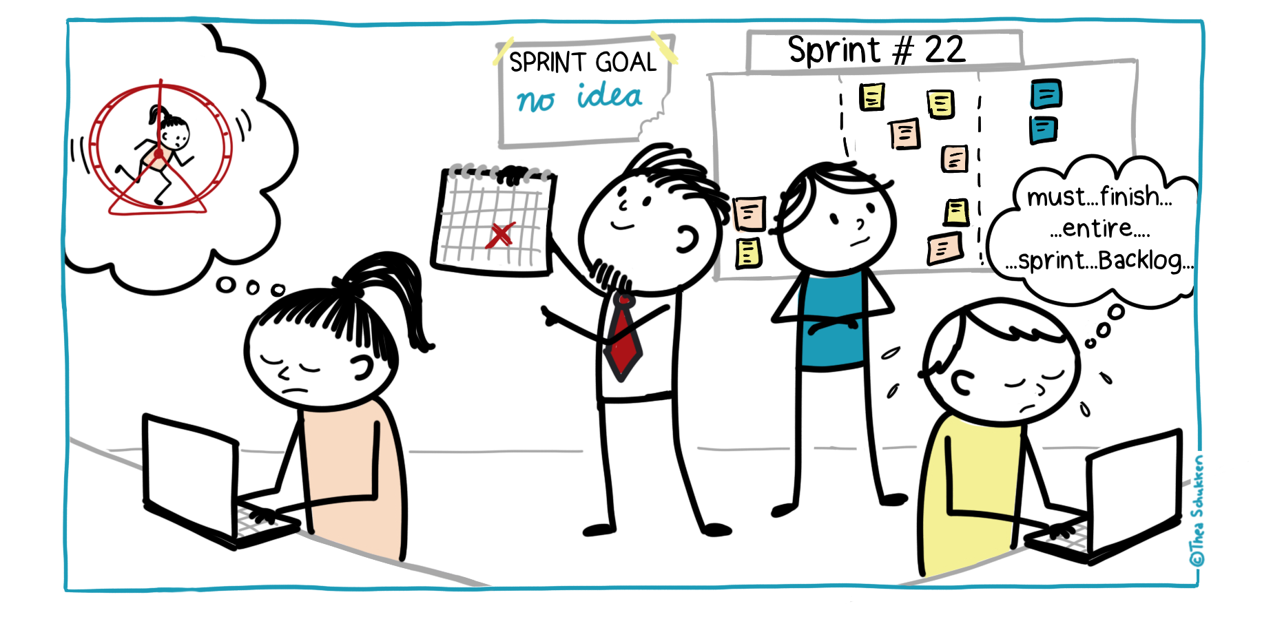 Without Sprint Goals - an illustration by Thea Schukken