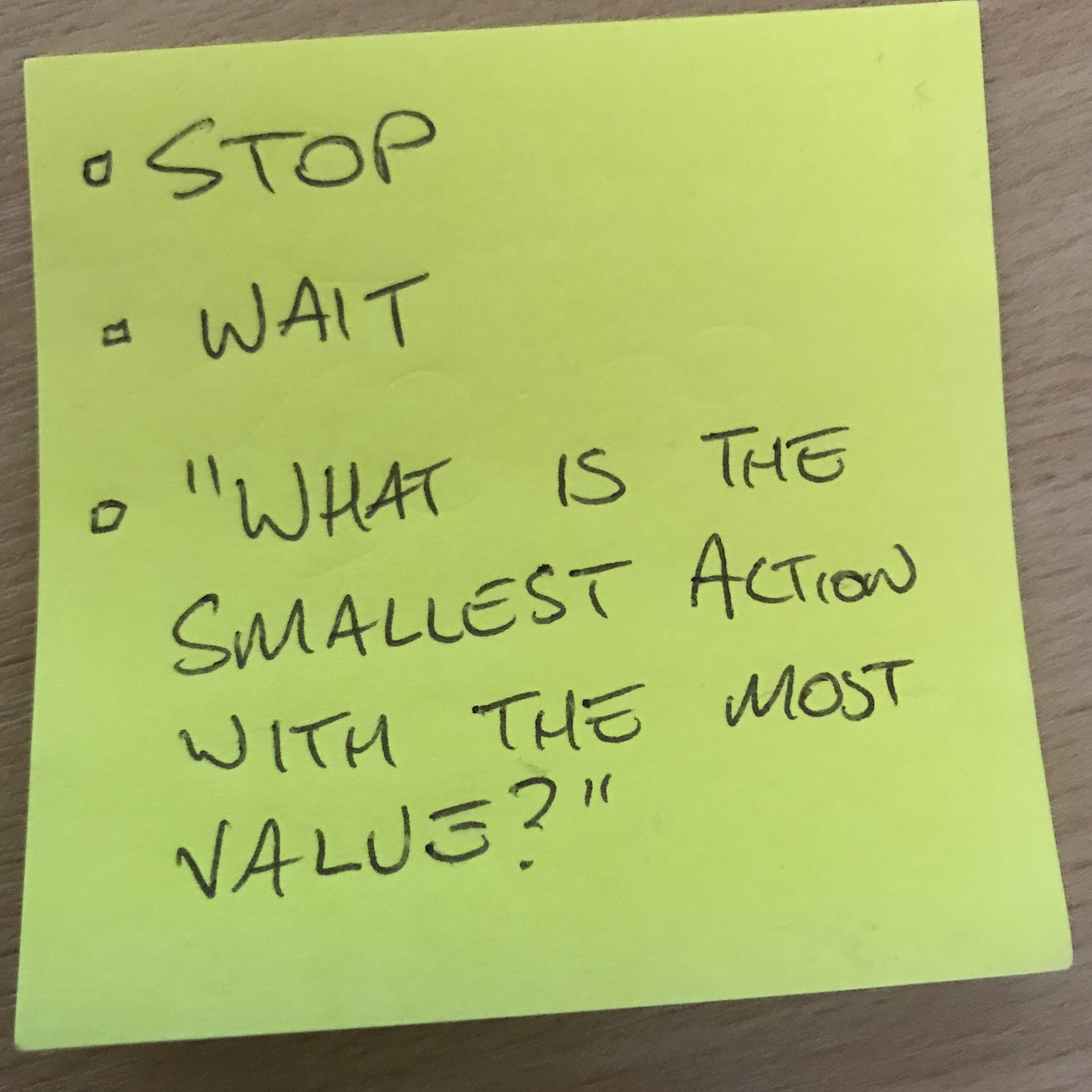 Post-it note with a question