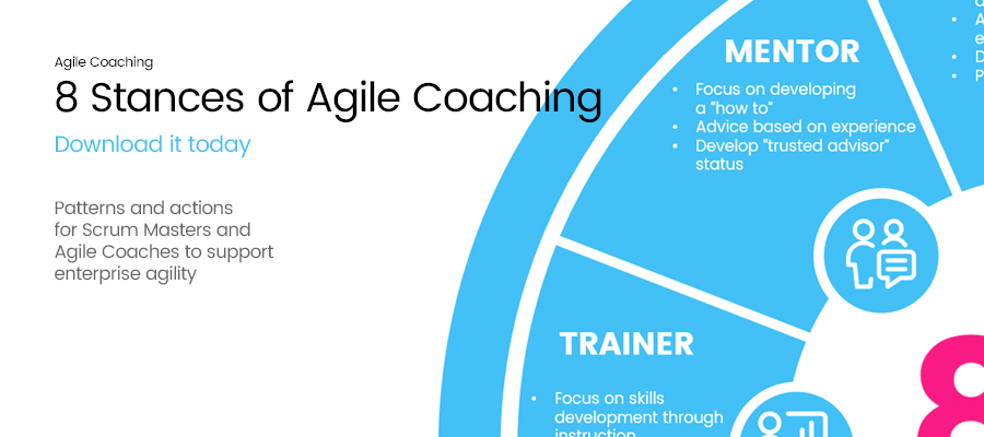 Banner showing 8 stances of agile coaching