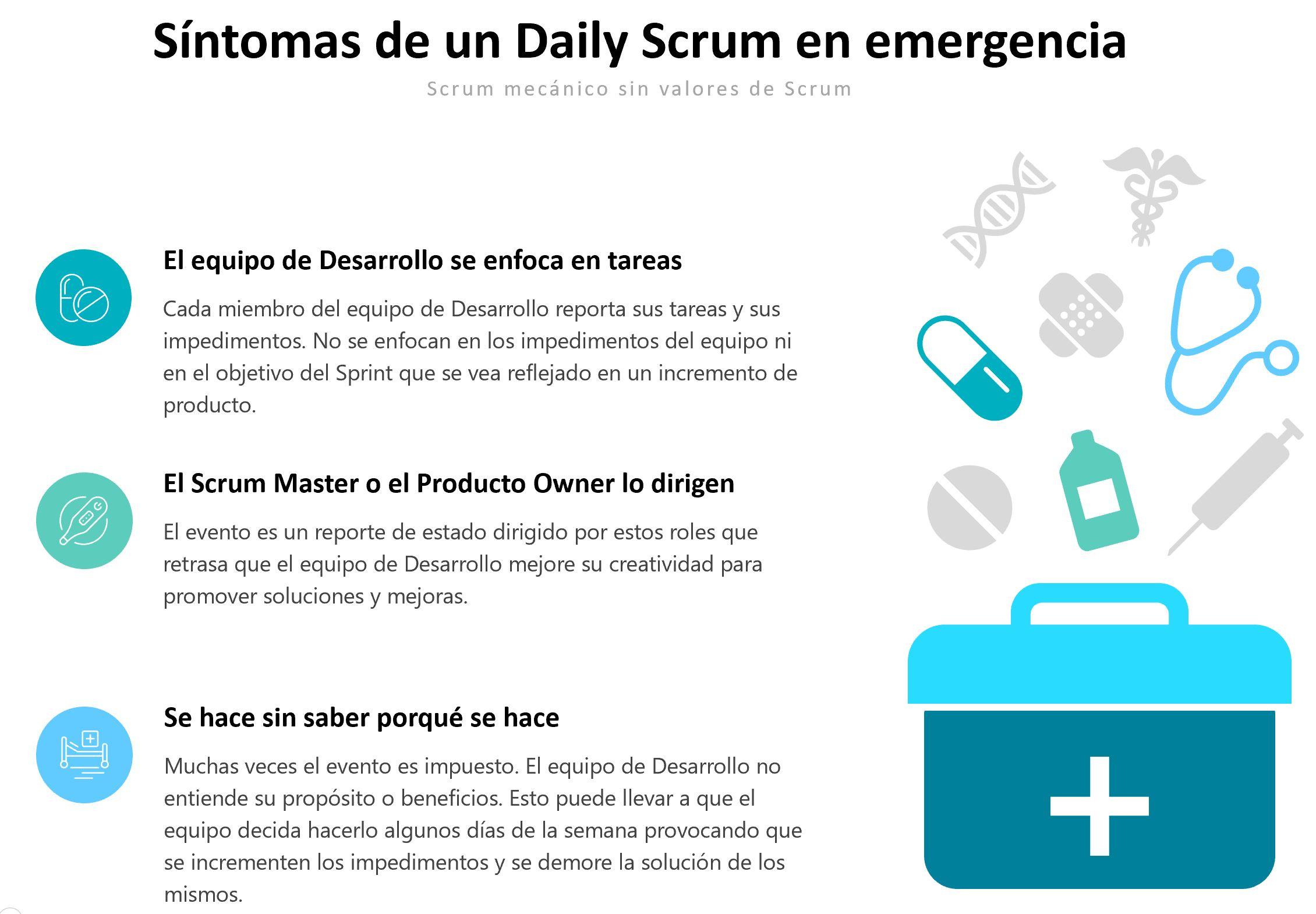 Sintomas de un Daily Scrum en emergencia